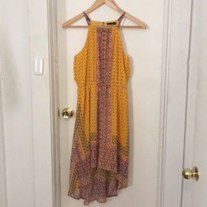 Dresses & Skirts - Pattered yellow halter-highlow dress